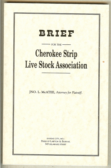Image for BRIEF FOR THE CHEROKEE STRIP LIVE STOCK ASSOCIATION.
