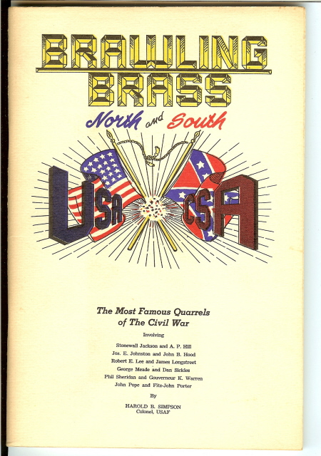 Image for BRAWLING BRASS. North and South. The Most Famous Quarrels of the Civil War.